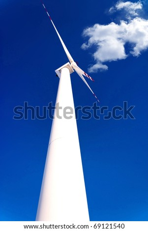 Wind turbines on green field. Alternative source of energy
