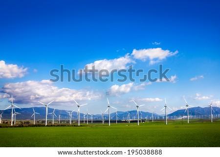 Wind turbines on green meadow. Facinas, Cadiz, Spain - stock photo