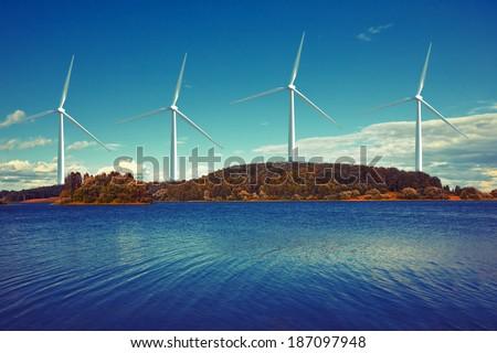 wind turbines on island - stock photo