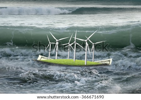 Wind turbines on money boat floating in the ocean with oncoming wave
