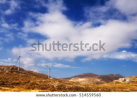 Wind turbines on Naxos island, Greece