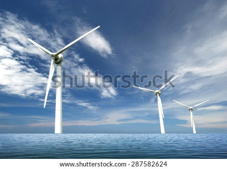 Wind turbines on sea - stock photo