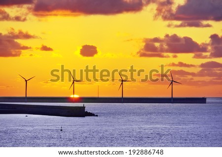 wind turbines on sea at sunset - stock photo