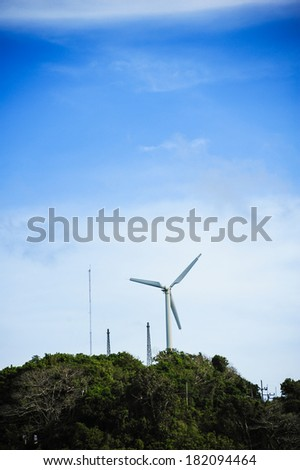 Wind turbines on the beautiful autumn