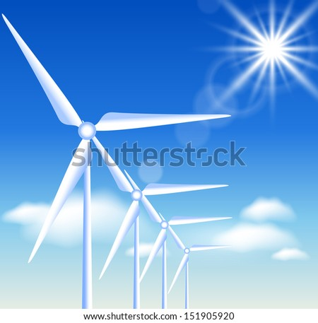 Wind turbines on the blue sky background and sun - stock photo