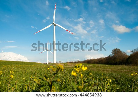 Wind turbines on the field