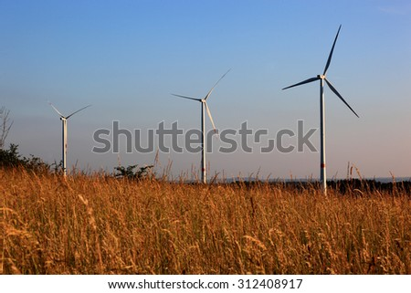 Wind turbines on the Goerauer Anger, district of Kulmbach, Upper Franconia, Bavaria, Germany