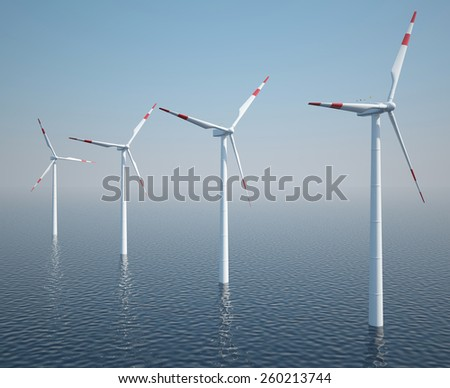 Wind turbines on the ocean with blue sky. 3d illustration high resolution - stock photo