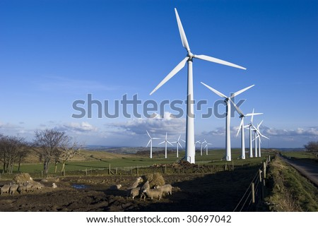 Wind Turbines on the Yorkshire Moors England