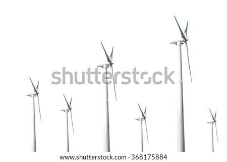 wind turbines on white background - stock photo