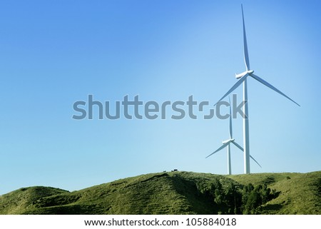 Wind turbines on wind farm
