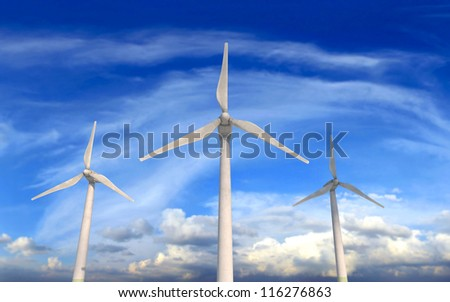 Wind turbines on windy and cloudy day