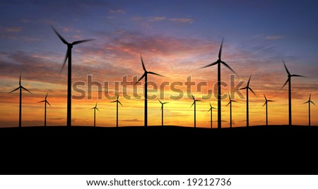 Wind turbines over orange sunrise ( see more in my portfolio)