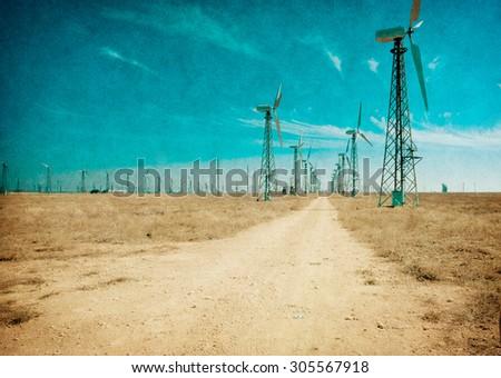 Wind turbines - picture in retro style  - stock photo