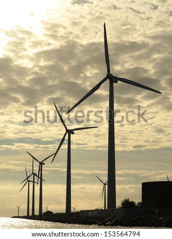 wind turbines power generator farm for renewable energy production along coast baltic sea near Denmark at sunset /sunrise. Alternative green energy. ecology.