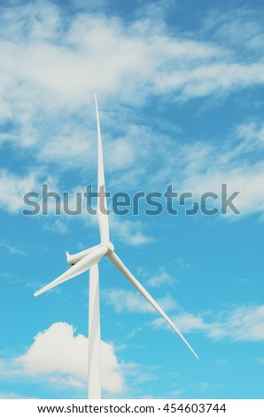 Wind turbines produce electricity Alternative energy with sky and cloud background