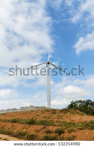 Wind turbines produce electricity in Thailand