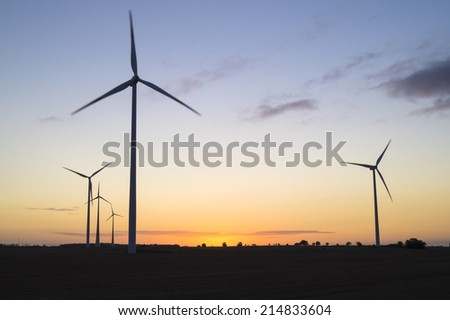 Wind turbines, pure energy,windmills in the fields in Germany
