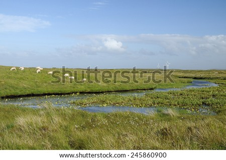 Wind Turbines, South Uist, Outer Hebrides - stock photo