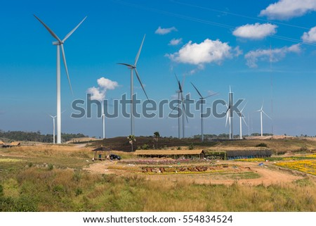 Wind turbines, wind Farms  at Khao Kho, Phetchabun, Thailand