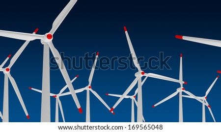 Wind turibines (isolated with clipping path)