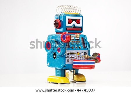 wind-up robot toy - stock photo