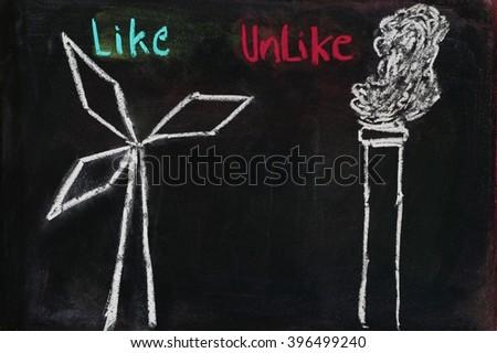 Wind Versus Coal sign drawn on blackboard - stock photo