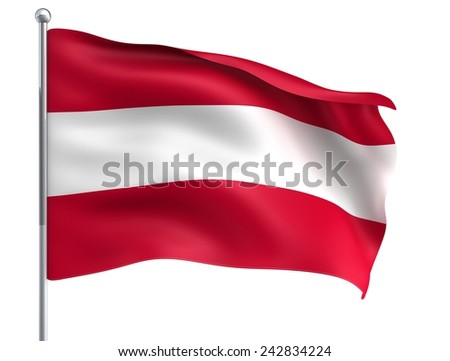 Wind Wave Austria Osterreich Flag in High Quality Isolated on White with Flagpole  - stock photo