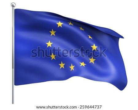 Wind Wave Europe Flag in High Quality Isolated on White with Flagpole