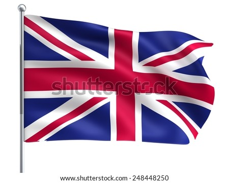 Wind Wave Great Britain UK United Kingdom England Flag in High Quality Isolated on White with Flagpole - stock photo