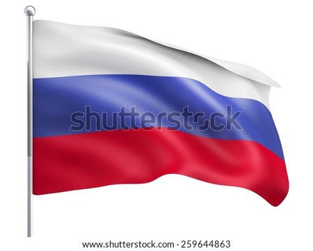 Wind Wave Russia Flag in High Quality Isolated on White with Flagpole