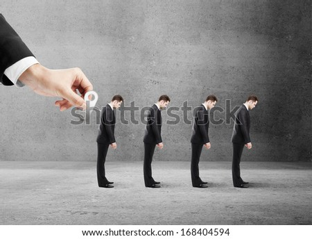 winder in hand of a four businessman gets in room