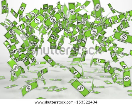 Windfall of green comic style bank notes on white background - stock photo