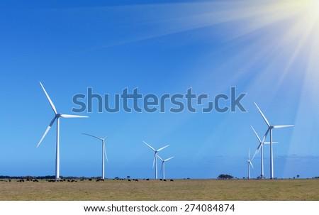 Windfarm (group of windmills) - Clean Energy production, Victoria, Australia - stock photo
