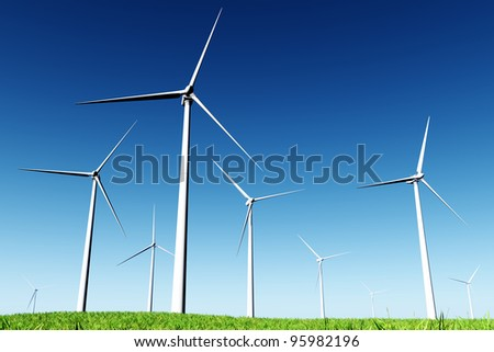 Windfarm in Meadow 3D render - stock photo