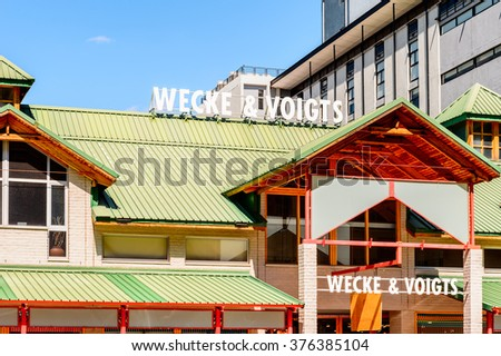 WINDHOEK, NAMIBIA - JAN 3, 2016: Architecture of Windhoek, Namibia. Windhoek is the capital and the largest city of Namibia