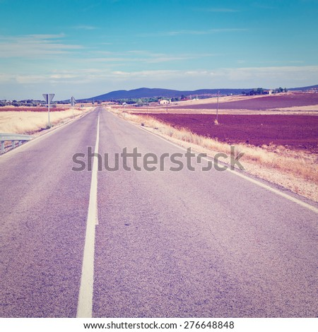 Winding Asphalt Road in the Mountains, Spain, Instagram Effect - stock photo