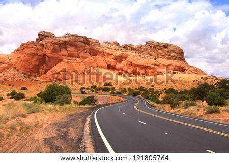Winding desert high way in Arizona - stock photo