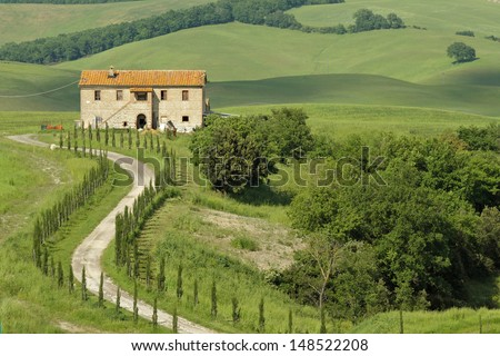 winding dirt road with cypresses to the tuscan country house, Italy, Europe - stock photo
