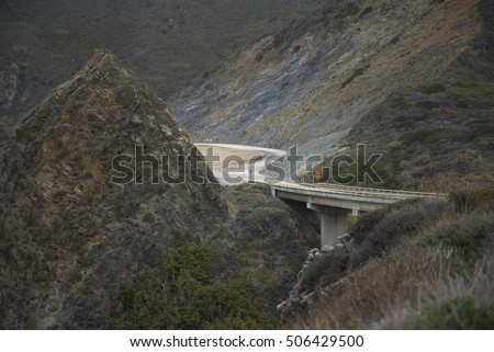 winding mountain road Bridge on California