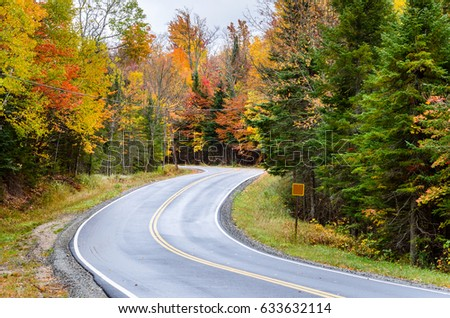 Winding Mountain Road in the Adirondacks, NY, in Autumn