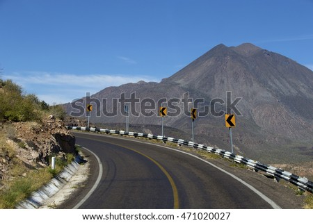 Winding narrow road in Baja California, Mexico
