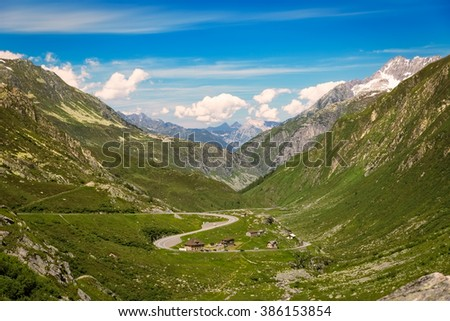 Winding pass road at Gotthard, Andermatt, Switzerland - stock photo
