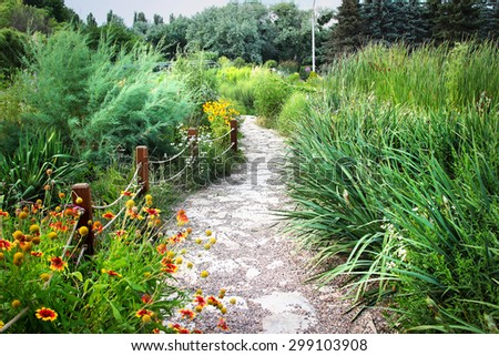 Winding path in lush green park. Cozy place for summer walk.  - stock photo