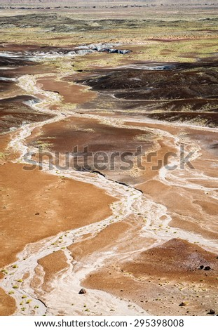 Winding River at Petrified Forest National Park - stock photo