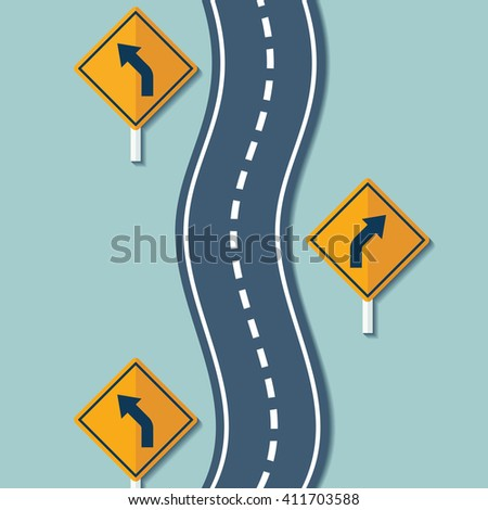 Winding road and warning signs. Flat graphics. Stock illustration. - stock photo