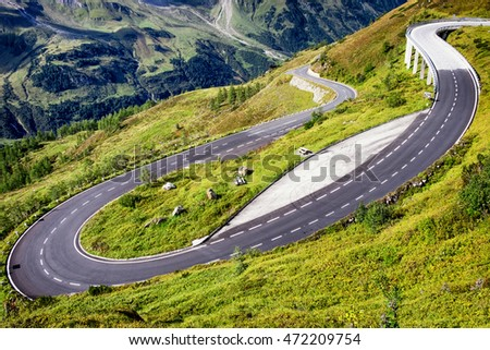 winding road at the european alps