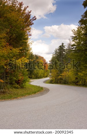 Winding Road During Autumn Season in Vermont