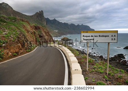 Winding road in Anaga Mountains, Tenerife, Spain, Europe  - stock photo