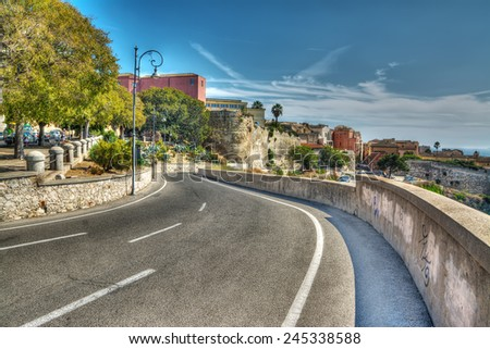 winding road in Cagliari, Italy - stock photo